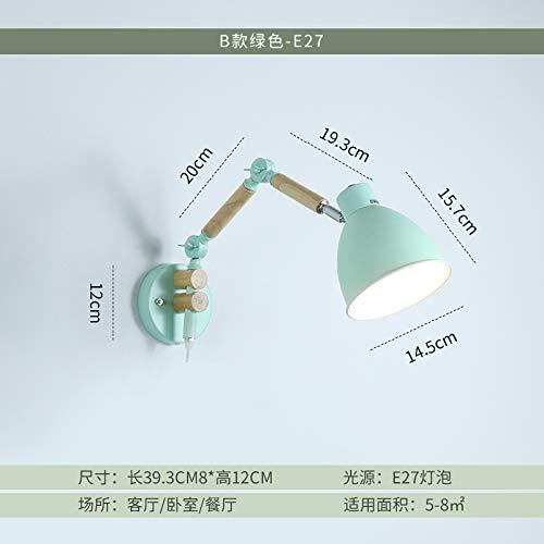 Nordic lampe de chevet créatif moderne minimaliste salon chambre à coucher en bois massif art japonais pliant télescopique à bras long bras mural, section C - vert - envoi 3W LED lumière chaude