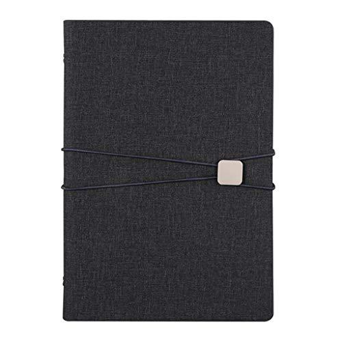 Cuadernos de taquigrafía Creative Fashion Business Notebook de Hojas Sueltas Office Meeting A5 Notebook, Logotipo Personalizable Cuaderno de Tapa Dura (Color : Black)