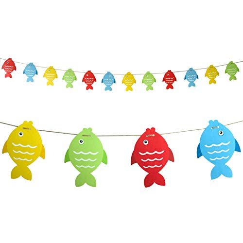 Fish Banner Paper Pennant for Gone Fishing Party Supplies School Decoration 12Pcs
