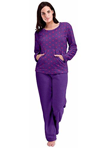 Pijama para mujer, forro abrigado Morado Lunares Morados (