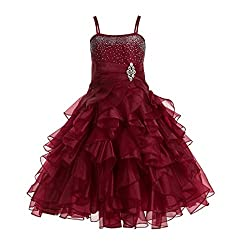 Apple Red Rhinestone Organza Layer Flower Girl Dresses