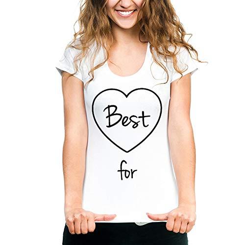 Yesgirl Best Friends Camiseta Chicas con Hamburguesas Y Papas Fritas Funny Matching Manga Corta Damas Casual T-Shirt Tops