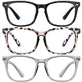 Blue Light Blocking Glasses-3Pack Computer Game Glasses Square Eyeglasses Frame, Blue Light Blocker Glasses for Women Men (MT8068Black+douhua+gray)