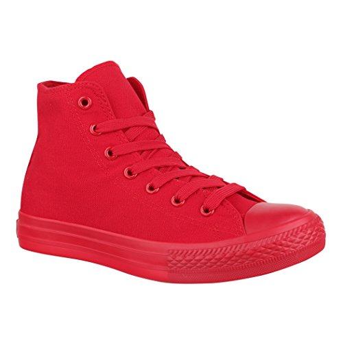 Elara Unisex Sneaker Sportschuhe für Herren Damen High Top Turnschuh Textil Schuhe 014-ZY9031-Red-41