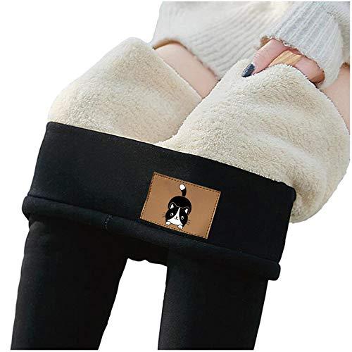 N/ Térmico Leggings de Cintura Alta para Mujer,Pantalones de cachemira de lana de terciopelo grueso ajustado Pantalones Invierno cálido Leggings Push Up Mujer Mallas Pantalones Deportivos Elásticos