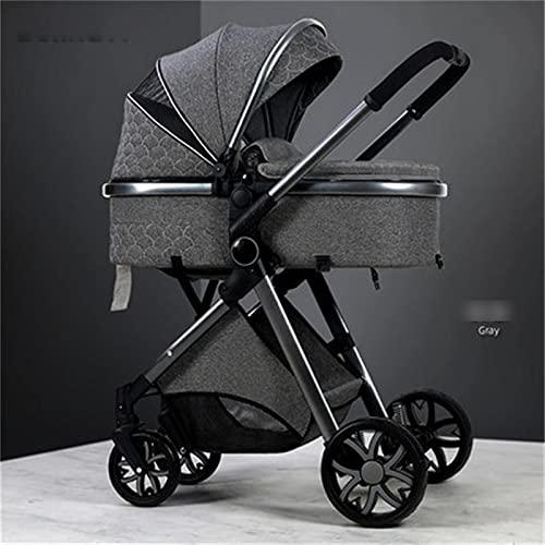 HZPXSB Cochecito de bebé 3 en 1 Cochecito de altáfago de Altura Cochecito de luz Plegable de carruaje reclinado con Cuna de bebé (Color : Grey 2in1)