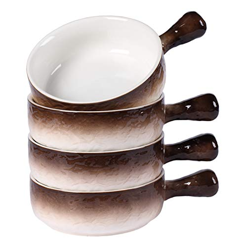 Hoxierence - 21 Oz Ceramic French Onion Soup Bowls, Stone Embossed Pattern Bowl with Single Handle, Suitable for Chowder, Beef Stew, Oatmeal - Set of 4 (Brown)