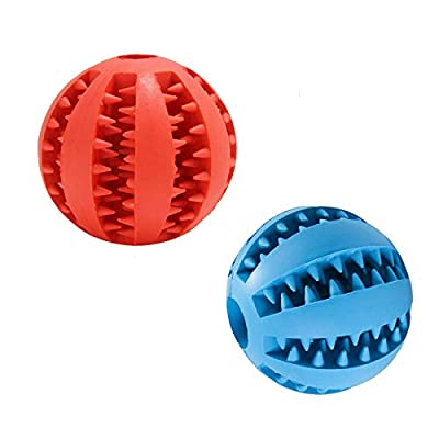 Elezenioc Dog Treat Toys Balls,2 Pack Dog Teeth Cleaning Toys Nontoxic Rubber Dog Balls,Puppy Chew Toys Dog Exercise Games Toys Balls IQ Training Balls for Small-Medium Dog Cat(1*Red+1*DeepBlue)