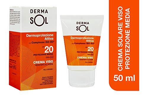 Dermasol Crema Solare Viso Protezione Media, SPF 20 con Estratti di Fiori d'Arancio - 50 ml