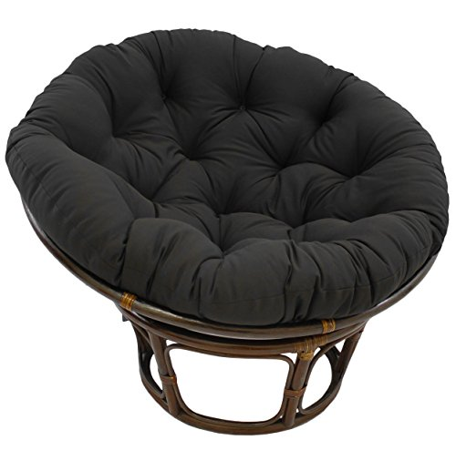 Blazing Needles Solid Twill Papasan Chair Cushion, 52' x 6' x 52', Black