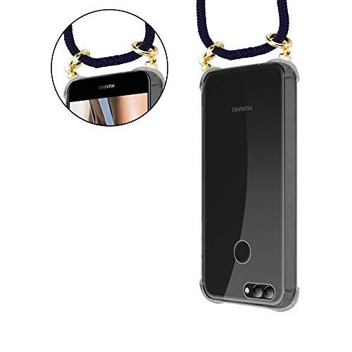 Cadorabo Handy Kette für Huawei NOVA 2 in TIEF BLAU - Silikon Necklace Umhänge Hülle mit Gold Ringen, Kordel Band Schnur und abnehmbarem Etui – Schutzhülle - 5