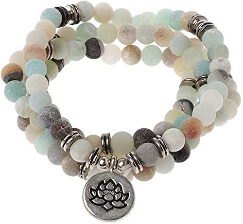 hwljxn FG810 108 Collar de Cuentas para Yoga Budista Rosario Oración Charm Charm Pulsera Pulseras Decorativas (Color de Metal: 1) (Size : 2)