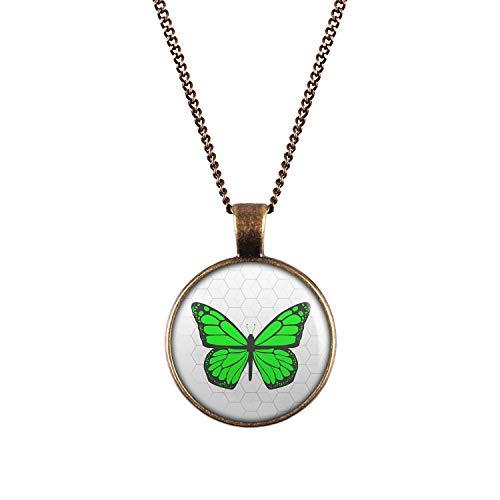 Mylery Halskette mit Motiv Schmetterling Grün Bronze 28mm