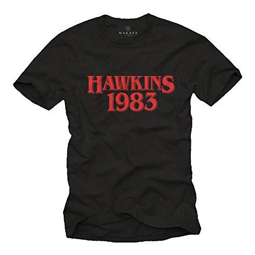 MAKAYA T-Shirt Hawkins 1983 Cosas Extrañas Camiseta para Hombre Negro Talla XL