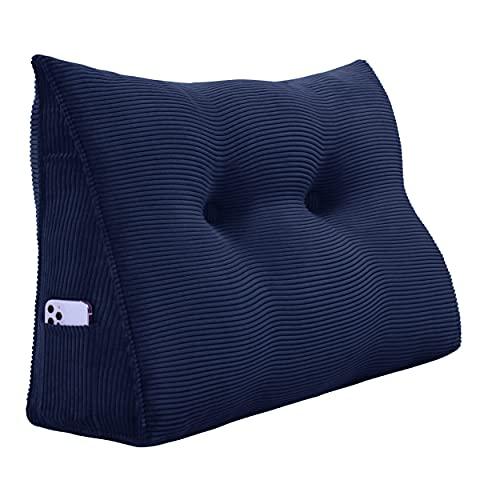 VERCART Reflux Kissen lagerungskissen Erwachsene Schlaf Kissen Polster für Sofas wandpolsterung lordosekissen Bett lagerungskissen kopfstütze Sofa Couch wandpaneele gepolstert Kordsamt 60cm Blau