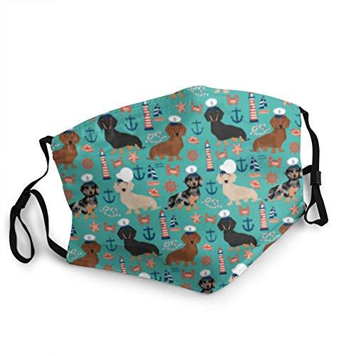 ZVEZVI Mascarilla para perro salchicha, diseño náutico, a prueba de polvo, resistente al viento, reutilizable, lavable, cubierta para la cara, cubierta para el polvo, hombres y mujeres