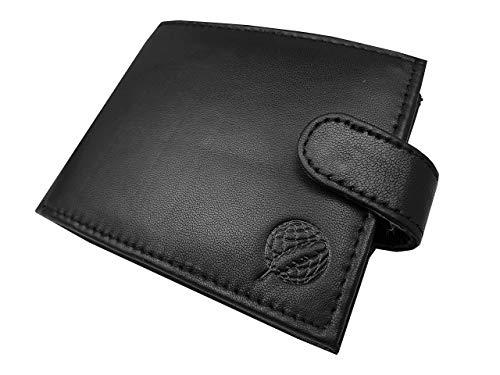 Roamlite RFID bloqueo para hombre diseñador cartera de cuero 9 ranuras para tarjetas 11cm x9x2 R46M, Sin bloqueo RFID en caja. (Negro) - RL46KAX