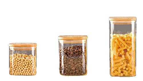TOAH eckige Vorratsgläser/Vorratsbehälter/Vorratsdosen mit luftdichtem Bambusdeckel stapelbar spülmaschinenfest Gewürzgläser Snackgläser Glasdose (9er Komplettset (3x 550 ml, 750 ml, 3x 1.300 ml))