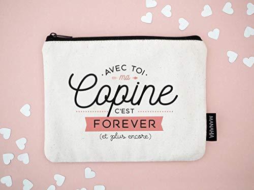 Pochette copine - Avec toi ma copine c'est forever   Manahia   Pochette 100% coton   cadeau copine - cadeau de noël pour femme