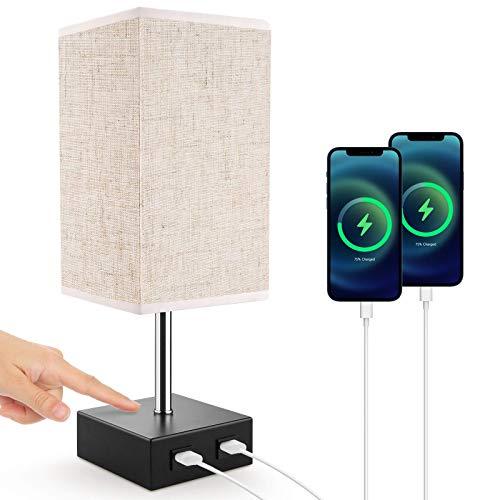 Lampe de Chevet, Lovebay Lampe de Table Tactile avec 2 Ports USB, 3 Niveaux de Luminosité RéGlables E27 Lampe de Chevet Moderne pour Chambre Table Salon Bureau