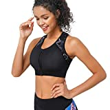 CtriLady High Impact Workout Sports Support Bra Full Cup Top Vest with Front-Zipper for Women Fitness, Yoga, Diving (Black, L)