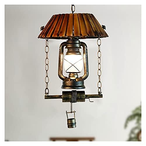 Accesorio de iluminación Arte retro único Chandelier chino antiguo linterna techo araña artesanida artesanía arte y hierro arte colgante luz vidrio lámpara E27 lámpara soporte para sala de estar Bar C