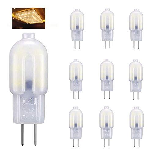 G4 LED Lampen, 2W LED Birnen Ersatz für 20W Halogenlampen, 3000K Warmweiß, 12V AC/DC, Nicht Dimmbar 360°Abstrahlwinkel, G4-Sockel Niedervolt-Halogenlampe, für Kristallleuchter, 10er Pack