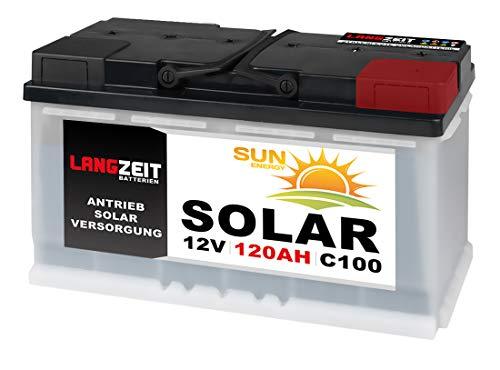 LANGZEIT 120Ah 12V Solarbatterie Boot Marine Wohnmobil Solar Batterie 100Ah
