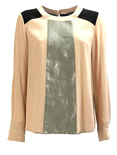 Armani Jeans High Shine Placket Panel Shirt in Nude - Size Uk12-eu44