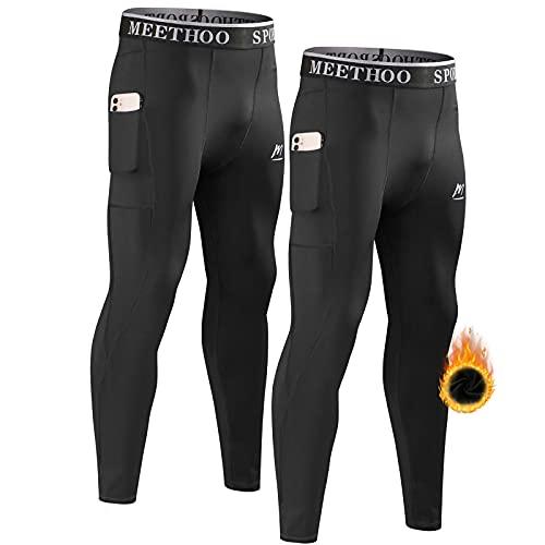 MeetHoo - Pantaloni termici da uomo, a compressione, pantaloni lunghi da corsa, con tasche, ideali per jogging, fitness, sci