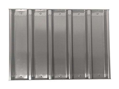 Focus Foodservice Commercial Bakeware 5-Count 12-1/2 by 3-Inch Sub Sandwich Roll Pan