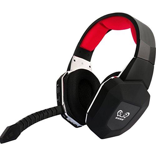HUHD PS4 Auriculares Gaming Headset 2,4 GHz  Auriculares Inalámbrico Gaming Headset Para  PS4 PC Xbox 360 Xbox one PS3 con Micrófono Desmontable Audio Digital USB 2.0 Batería Recargable  (Rojo)