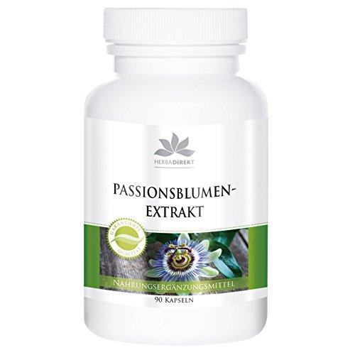 Passionsblumen Extrakt Kapseln - vegan - hochdosiert - Passiflora incarnata - 90 Kapseln - Hergestellt in Deutschland