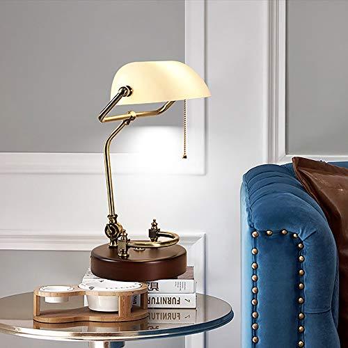 Lievevt Lámpara Escritorio Lámpara Creativa Retro Mesa lámpara Dormitorio Lectura lámpara de Noche lámpara de Hierro de Madera Maciza 19 * 40 cm (Color : White)