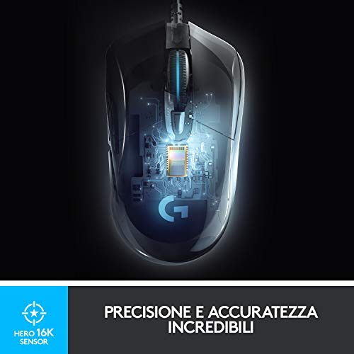 Logitech G403 HERO 16K, mouse gaming, LIGHTSYNC RGB, leggero 87 g + 10 g opzionale, cavo intrecciato, 16.000 DPI, impugnature laterali in gomma, Imballaggio per l'Europa occidentale