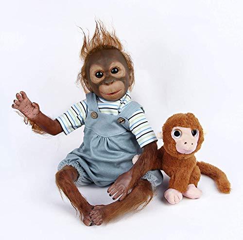 Nicery Reborn AFFE Babypuppe Weich Silikon Stoffkörper Vinyl für Jungen und Mädchen Geburtstagsgeschenk 48-50 cm Reborn Puppe gxm-1de
