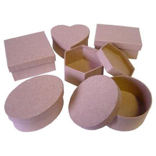 Largest 34x34x20cmPapier Mache Boxes 5 Assorted Square Paper Mache Boxes