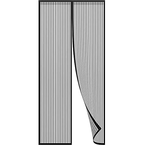 FMOGE Cortina Magnética De Poliéster para Puerta De Mosquitera Magnética Negra, Cortinas De Pasta Mágica para Puerta Suave Magnética Antiplagas De hasta 100 * 210 Cm