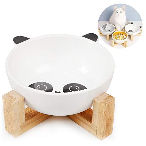 Ceramica Ciotole per Cane Gatto,Ciotole per Cani Gatti,Cani e Gatti Ciotole per Cibo,Ciotoline in Ceramica Supporti in bambù per Animali,Scodella Rialzata per Cane e Gatto (Panda)