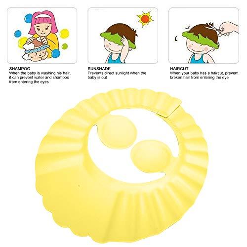 Baby Shower Champú Sombrero de baño Parasol para el cabello Escudo ajustable Multifuncional para el hogar para niños para niños para la vida diaria(yellow)
