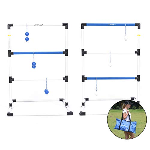 JOGENMAX Ladder Toss Game Set Indoor/Outdoor Lawn Games with 6 Bolo Balls, Portable Carrying Case and Score Trackers, for Kids & Adults, Family