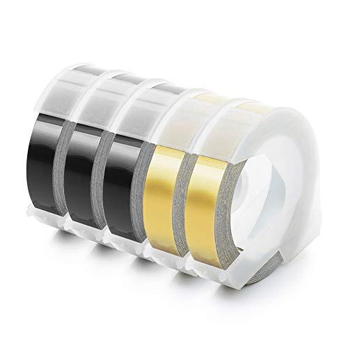 Unistar Kompatibel Prägeband als Ersatz für Dymo Prägeband Gold 9mm, 3D Vinyl Kunststoff Prägebändern Weiß auf Schwarz/Gold für Dymo Omega Junior Embosser, 5 Rollen