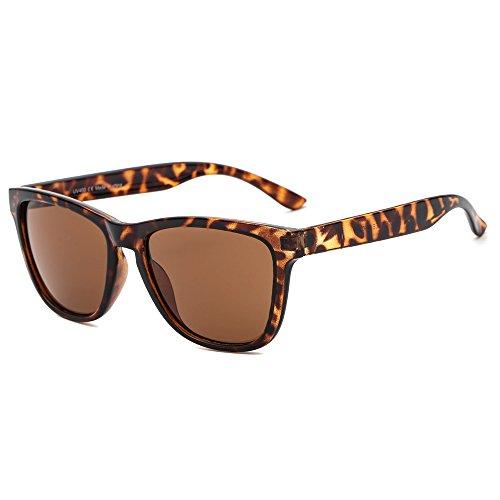 Suertree gafas de sol cuadradas mujeres hombres espejos retro vintage moda 80s90s retro gafas UV400 JH9002 marrón