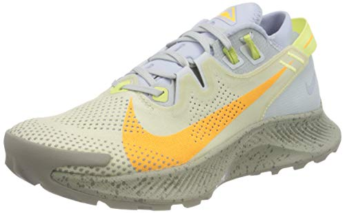 Nike W Pegasus Trail 2, Scarpe da Corsa Donna, Pure Platinum/Laser Orange-Fossil-Limelight-Ghost-Enigma Stone, 38.5 EU
