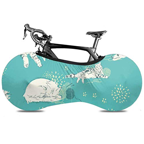 HJHJJ Copertura della Ruota della Bicicletta Modello Gatti Giocare a bugne Anti-Polvere Bici Portaoggetti al Coperto AntiGraffio, Lavabile Pacchetto di Pneumatici ad Alta Elasticità Road MTB Protect