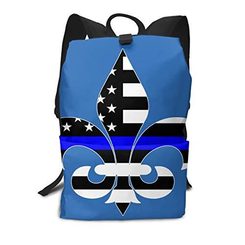 Iop 90p Blue Line Fleur De Lis Sac à dos pour ordinateur portable Voyage Sac à dos Épaules, Polyester, blanc, Taille unique