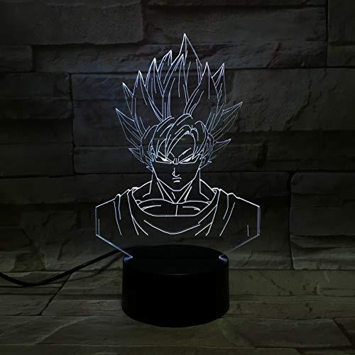 Lampara LED Manga Anime Dragon Ball Goku Cambia Color USB Luz Nocturna y decoración