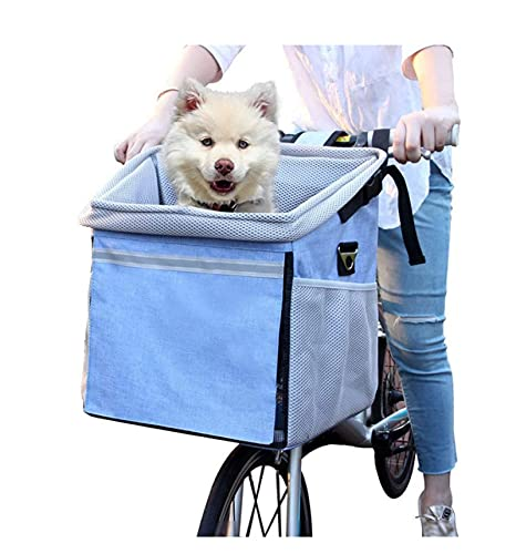 WAFFZ Bolsa para cesta de bicicleta para mascotas con bolsillos laterales grandes, cómoda correa de hombro acolchada, viaje con seguridad para mascotas