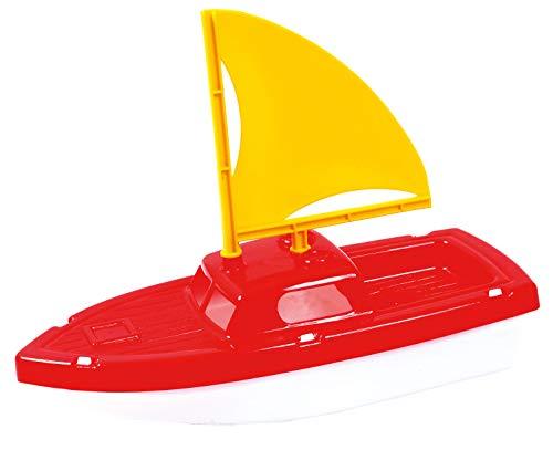 Idena 40167 - Strand- und Wasserspielzeug Boot, kleines Segelboot aus robustem Kunststoff, ideal zum Spielen in der Badewanne oder im Pool, ca. 29 x 23,5 x 11,5 cm groß