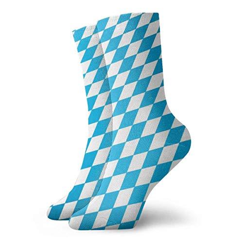 Calze unisex a metà polpaccio blu e bianco con motivo bandiera